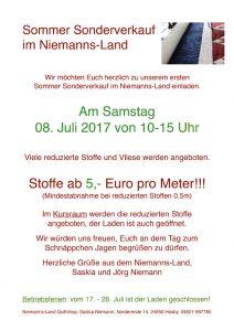 Sommer Sonderverkauf 08. Juli 2017 – 10-15 Uhr